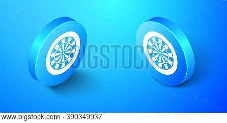 Isometric Classic Darts Board With Twenty Black And White Sectors Icon Isolated On Blue Background.