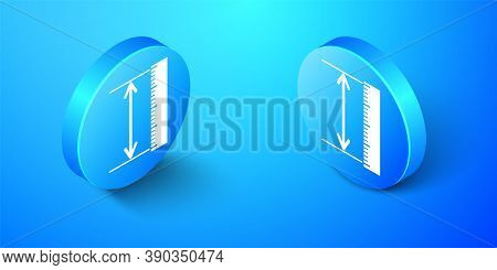 Isometric The Measuring Height And Length Icon Isolated On Blue Background. Ruler, Straightedge, Sca
