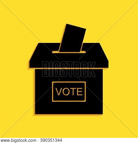Black Vote Box Or Ballot Box With Envelope Icon Isolated On Yellow Background. Long Shadow Style. Ve