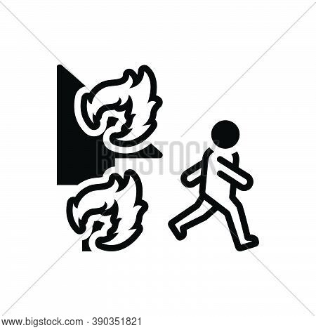 Black Solid Icon For Emergency Climacteric Exigency Fire Rescue Away Danger Burning