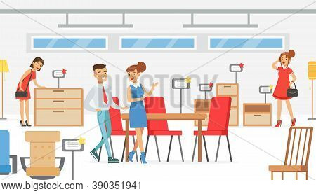 People Shopping In Furniture Store, Male Shop Assistant Helping Woman To Choose Dining Table And Cha