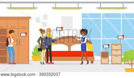 People Shopping In Furniture Store, Female Shop Assistant Helping Family Couple To Choose Bed Vector