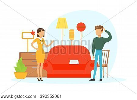 People Shopping In Furniture Store, Female Shop Assistant Helping Man To Choose Sofa Vector Illustra