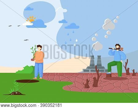 Deforestation Concept. Chopping Forest, Destruction Of Wood. Danger For Ecology And Air Pollution. V