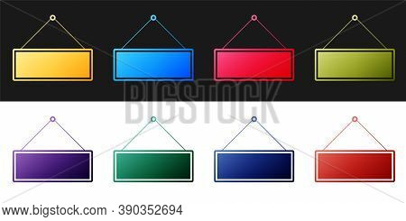 Set Signboard Hanging Icon Isolated On Black And White Background. Suitable For Advertisements Bar,
