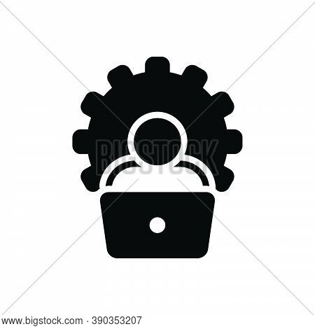 Black Solid Icon For Administrator Laptop Cogwheel Boss Ceo Colleagues Controller Viceroy Executive