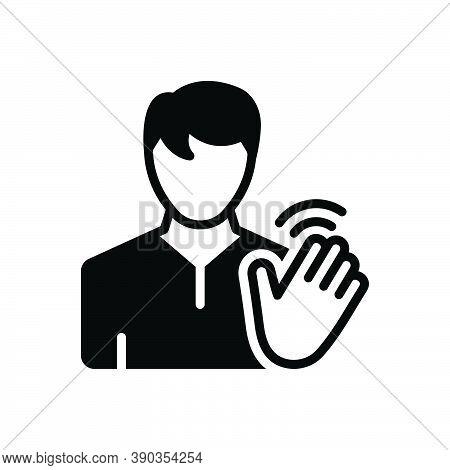 Black Solid Icon For Hi Hello Bye-bye Person Hand Waving Friendly Palm Gesture