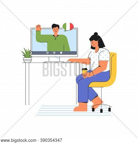 E-learning At Home. Young Woman Listens To The Teacher Of Italian Language. Online Course On The Web