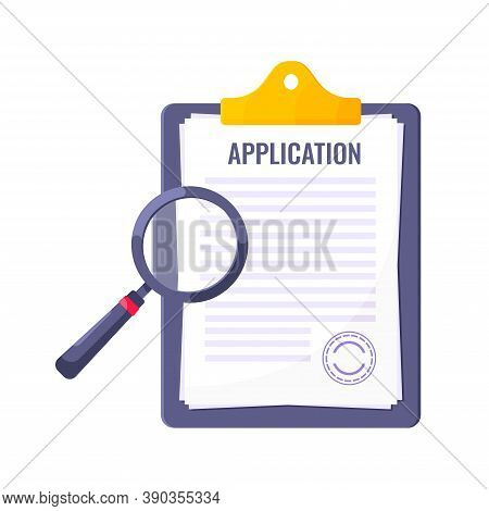 Application Submit Document Form Flat Style Design Icon Sign Vector Illustration Isolated On White B