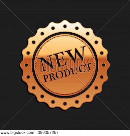 Gold New Product Label, Badge, Seal, Sticker, Tag, Stamp Icon Isolated On Black Background. Long Sha