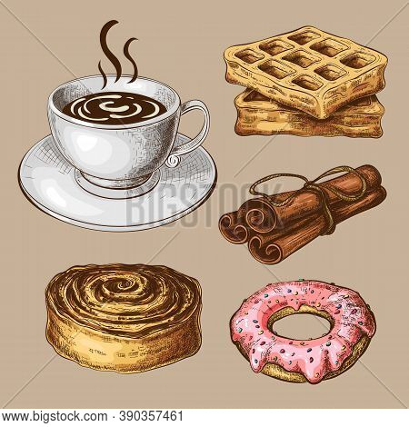 Pastry With Coffee Vintage Clipart. Color Sketch Of Sweet Breakfast Isolated. Drawn Sweet Pastry Wit