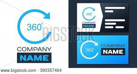 Logotype Angle 360 Degrees Icon Isolated On White Background. Rotation Of 360 Degrees. Geometry Math