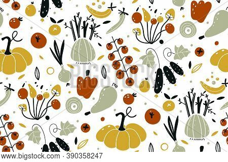 Vector Seamless Pattern With Vegetables Isolated On White Background. Autumn Harvest. Fresh Vegetabl