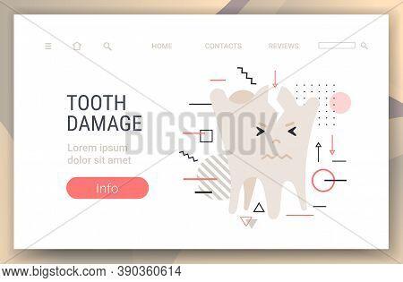 Unhealthy Sick Broken Molar Character Tooth Damage Dentistry Concept Horizontal Copy Space Vector Il