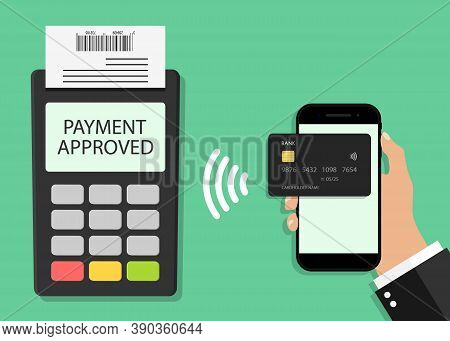 Payment From Card In Phone On Pos Terminal. Contactless Transaction From Mobile. Icon For Paypass, N