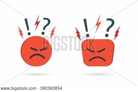 Angry And Hate Icon. Difficult, Bad Customer. Negative Opinion And Experience From Client. Unhappy M