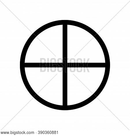 Earth Planet Symbol. Vector Sign. Astrological Calendar. Zodiacal Black And White Horoscope. Outline
