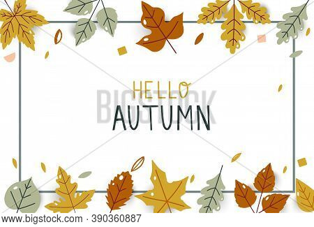 Hello Autumn Bright Fall Leaves. For Holiday Sale Promo. Autumn Hand Drawn. Design For Poster, Card,