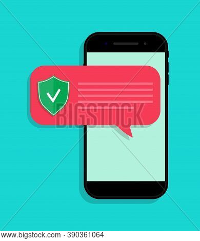 Phone Protect From Virus. Notification With Alert About Secure In Smartphone. App For Safe From Frau