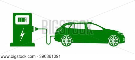 Car Electric Charge. Icon Of Vehicle Charge Station. Green Eco Charger. Symbol Of Nature Energy. Sig