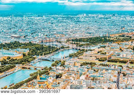 Panorama Of Paris View From The Eiffel Tower. View Of The Seine.