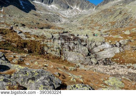Vysoke Tatry, Slovakia - October 10, 2018: Great Cold Valley In High Tatras, Slovakia. The Great Col