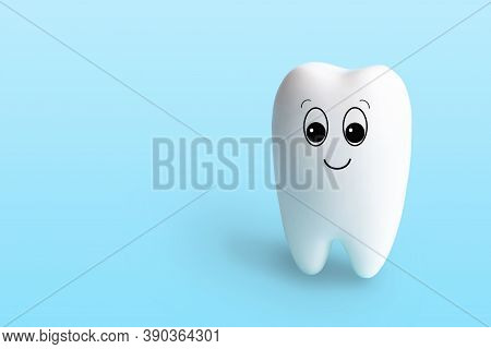 Fun Toy White Tooth Isolated On Light Blue Background With Copy Space. Oral Hygiene Concept For Dent