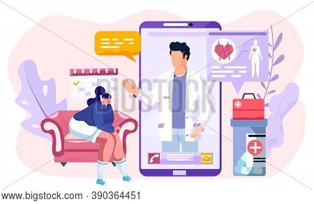 Online Medical Consultation Concept. Remote Communication With A Doctor Or Pharmacist. Modern Flat S