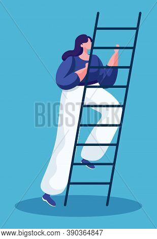 Woman Going Upstairs To Achieve Success Isolated Lady In Flat Cartoon Style. Vector Illustration Of