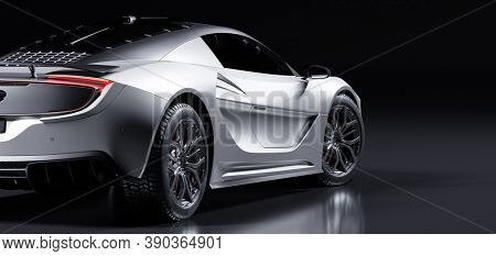 Rear view of modern fast sports car in studio light. Brandless contemporary style. 3D illustration