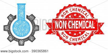 Wire Frame Chemical Industry Icon, And Non Chemical Grunge Ribbon Stamp Seal. Red Stamp Seal Has Non