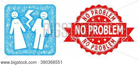 Net Broken Wedding Icon, And No Problem Scratched Ribbon Seal. Red Stamp Seal Includes No Problem Ta