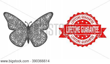 Net Butterfly Icon, And Lifetime Guarantee Dirty Ribbon Stamp Seal. Red Stamp Seal Includes Lifetime