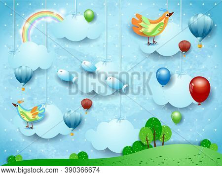 Surreal Landscape With Balloons, Hot Air Balloons, Birds And Flying Fisches. Vector Illustration Eps