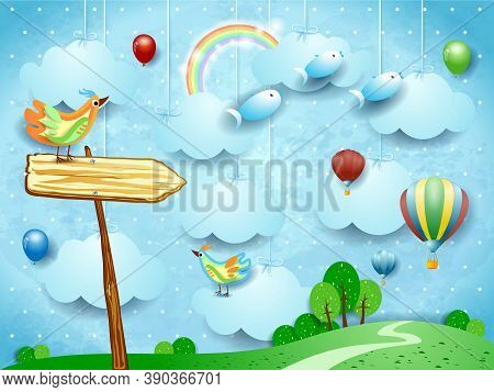 Surreal Landscape With Arrow Sign, Balloons, Birds And Flying Fisches. Vector Illustration Eps10