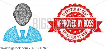 Wire Frame Boss Icon, And Approved By Boss Rubber Ribbon Stamp Seal. Red Stamp Contains Approved By