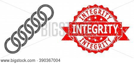 Network Circle Chain Icon, And Integrity Unclean Ribbon Seal. Red Stamp Seal Contains Integrity Titl