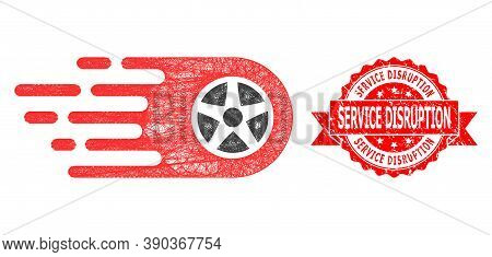 Network Bolide Wheel Icon, And Service Disruption Textured Ribbon Stamp Seal. Red Stamp Seal Include