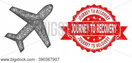 Wire Frame Airplane Icon, And Journey To Recovery Grunge Ribbon Seal. Red Seal Has Journey To Recove