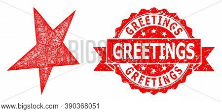 Wire Frame Asymmetrical Star Icon, And Greetings Grunge Ribbon Stamp Seal. Red Stamp Seal Includes G