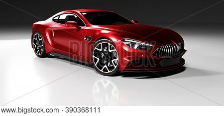 Premium red coupe sports car in studio light. Brandless modern style. 3D illustration