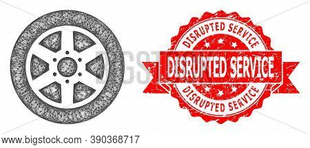 Net Car Wheel Icon, And Disrupted Service Corroded Ribbon Seal Imitation. Red Stamp Seal Contains Di