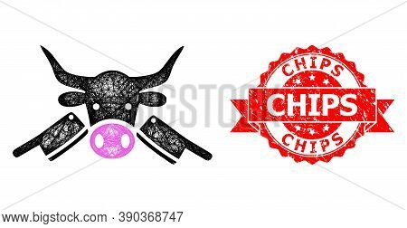 Net Butchery Icon, And Chips Rubber Ribbon Seal. Red Seal Contains Chips Tag Inside Ribbon.geometric