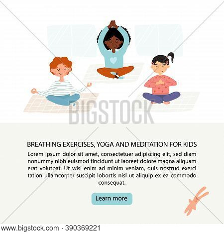 Kids Breathing, Concentration, Calm Exercise Learning Banner. Girls And Boy Meditates In Lotus Poses