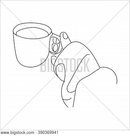 Winter Cozy Mood Concept. Line Art Female Hand Silhouette With A Cup Of Coffee. For Your Creative De