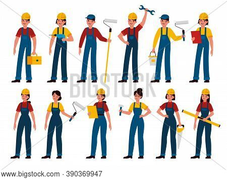 Builders. Men And Women Professional Contractors, Technician With Toolbox, Painter, Carpenter And Me