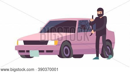 Car Theft. Robbery Banditry In Black Mask Looting, Take Apart Car, Crime Damage, Destruction Of Anot