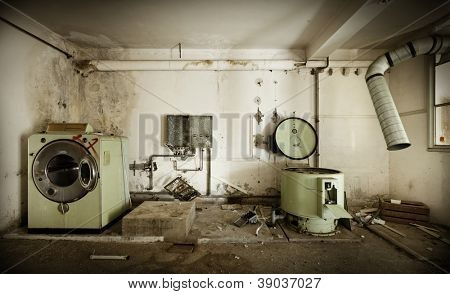 abandoned building,   old laundry