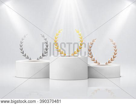 Winner Pedestal With Laurel. White Cylinder Podium Under Spotlights Realistic Mockup. Gold Silver Br