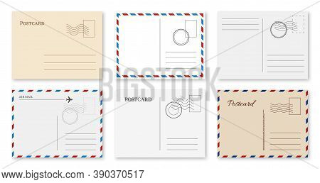 Postcard Template. Blank Vintage Postal Card With Post Stamp For Greeting Message, Invitation Letter